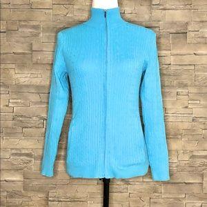 Eddie Bauer blue zip-up ribbed cardigan